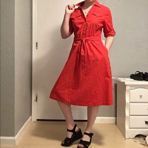 Red-orange swing dress